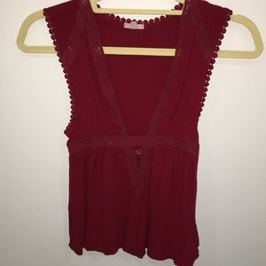 UO red v-neck going out top
